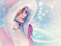 Woman in pink winter cloth Stock Photo