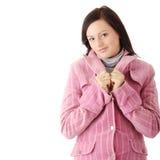 Woman in pink winter coat Stock Photos