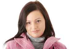 Woman in pink winter coat Royalty Free Stock Photography