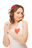 Woman with a pinned red paper heart Stock Photography