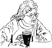 Woman with a pint stock illustration