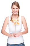 Woman with pinwheel Stock Photography