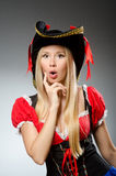 Woman pirate against Royalty Free Stock Photos