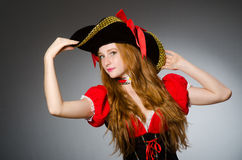 The woman in pirate costume - halloween concept Royalty Free Stock Photo