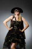 The woman in pirate costume - halloween concept Stock Images