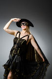 The woman in pirate costume - halloween concept Stock Photos
