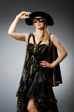 The woman in pirate costume - halloween concept Royalty Free Stock Images
