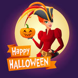Woman in pirate costume. Vector card with text. Stock Photos