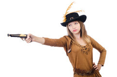 Woman pirate with gun Royalty Free Stock Image