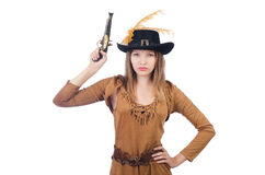 Woman pirate with gun Stock Image