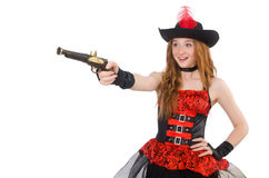 Woman pirate with gun Royalty Free Stock Photos