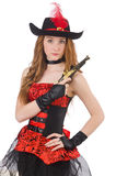 Woman pirate with gun Stock Images