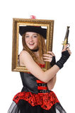 Woman pirate with gun Royalty Free Stock Photography