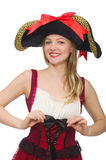 Woman pirate isolated Royalty Free Stock Images