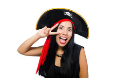 The woman pirate isolated on white Royalty Free Stock Photos
