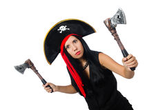 The woman pirate isolated on white Stock Photo