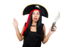 The woman pirate isolated on white Stock Images