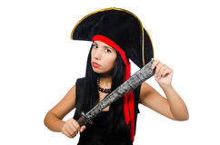 The woman pirate isolated on white Stock Photography