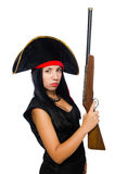 The woman pirate isolated on white Royalty Free Stock Photo