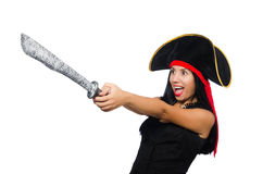 The woman pirate isolated on white Stock Image