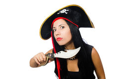 Woman pirate isolated on white Stock Photos