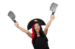 Woman pirate isolated on white Royalty Free Stock Image