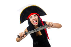 Woman pirate isolated on white Stock Photography