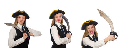 The woman pirate isolated on the white Stock Photography