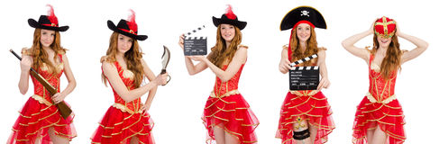 The woman pirate isolated on white Royalty Free Stock Photography
