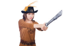 Woman pirate with knife Stock Photography