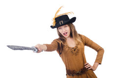 Woman pirate with knife Royalty Free Stock Photo