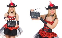 The woman pirate with movie board Royalty Free Stock Photo