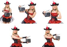 The woman pirate with movie board Stock Images