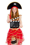 Woman pirate with movie Royalty Free Stock Images