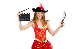 Woman pirate with movie Stock Photo