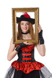 Woman pirate with picture frame isolated Royalty Free Stock Photography