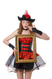 Woman pirate with picture frame isolated Stock Image