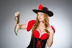 Woman pirate with sharp Stock Photos