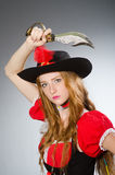 Woman pirate with sharp Royalty Free Stock Images