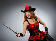 Woman pirate with sharp Royalty Free Stock Photos