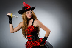 Woman pirate with sharp Stock Photos