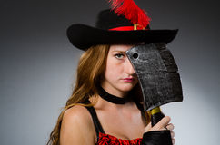 Woman pirate with sharp Royalty Free Stock Photo