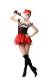 Woman pirate with a sword. Costume for Halloween Stock Image