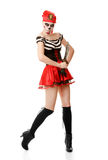 Woman pirate with a sword. Costume for Halloween Royalty Free Stock Image