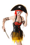 Woman pirate with a sword. Costume for Halloween Stock Photo