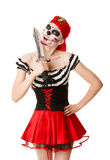Woman pirate with a sword. Costume for Halloween Stock Photography