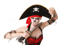 Woman pirate with a sword. Costume for Halloween Stock Images