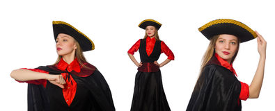The woman pirate in various concepts on white Stock Image