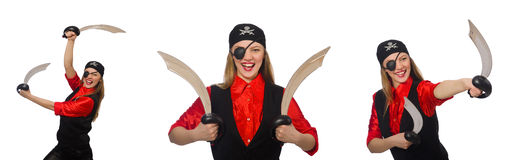 The woman pirate in various concepts on white Stock Photo
