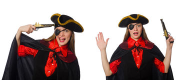 The woman pirate in various concepts on white Stock Images